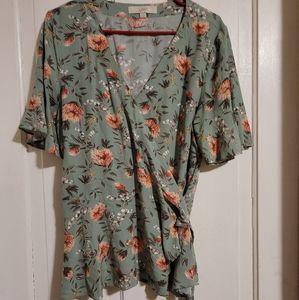 Loft floral wrap shirt